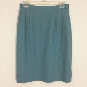 Lord & Taylor Womens Sz 8 Teal Pencil Midi Skirt